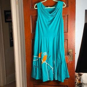 Teal Jersey Dress with Birds